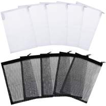 Tatuo 20 Pieces Aquarium Filter Bags Media Mesh Filter Bags with Zipper for Charcoal Pelletized Remove, White and Black