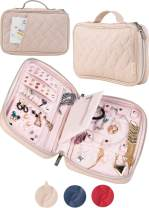 AVEEPA Travel Jewelry Organizer – Travel Jewelry Case with Magnetic Snaps, Detachable Earrings Pad, Necklace Holder (Nude Pink), Jewerly Holder Organizer with an Outside Pocket