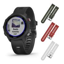 Garmin Forerunner 245 GPS Running Smartwatch with Included Wearable4U 3 Straps Bundle (Black Music 010-02120-20, Khaki/Red/White)