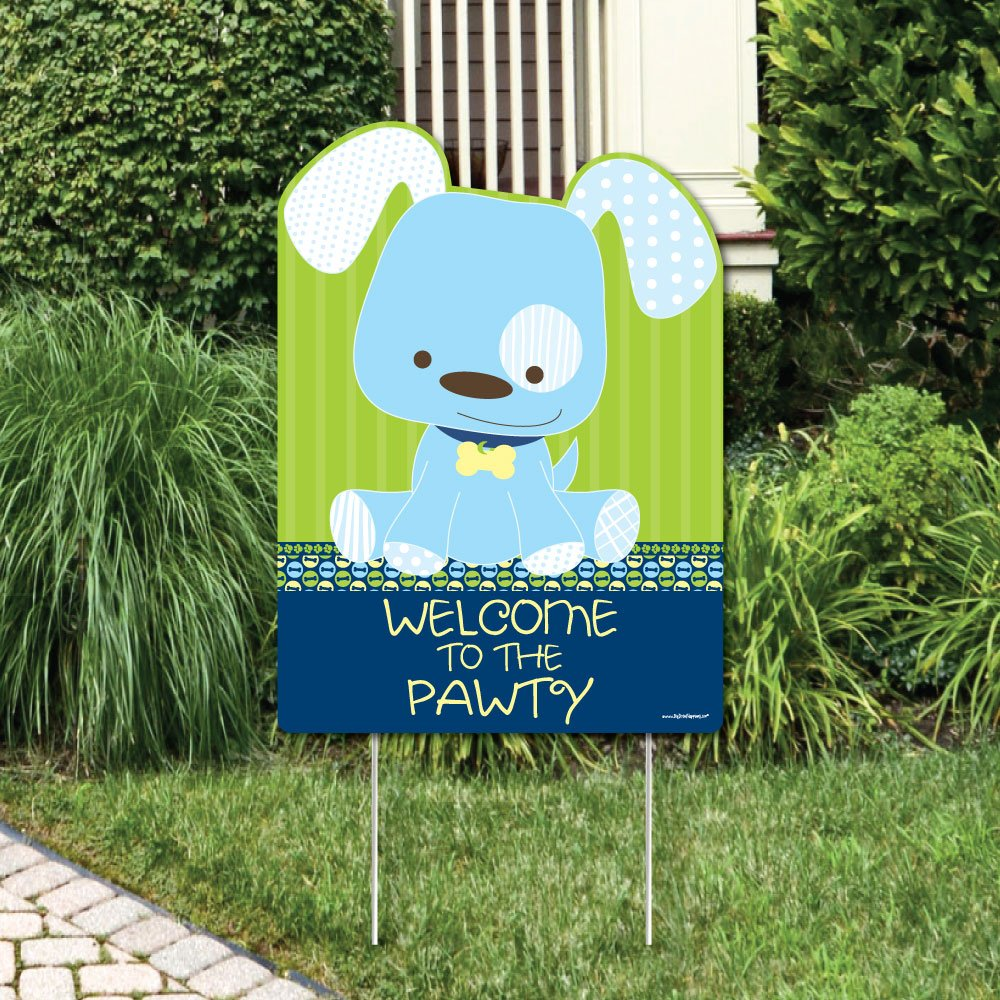 Big Dot of Happiness Boy Puppy Dog - Party Decorations - Birthday Party or Baby Shower Welcome Yard Sign
