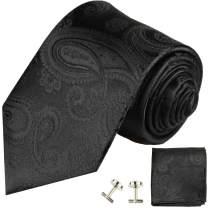 Paul Malone Necktie, Pocket Square and Cufflinks 100% Silk Black Paisley