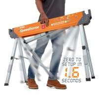 Bora Portamate Speedhorse Sawhorse (Single Piece) | Heavy Duty Benchhorse Table Stand with Folding Legs and Metal Top for 2x4 | PM-4500
