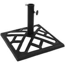 Sunnydaze Outdoor Patio Umbrella Base Stand - Cast Iron Heavy Duty Umbrella Base - Decorative Modern Geometric Design - 17-Inch Square