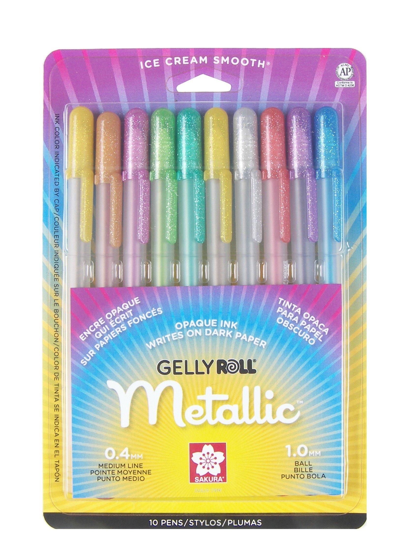 Sakura 57370 10-Piece Gelly Roll Blister Card Assorted Colors Metallic Gel Ink Pen Set,Multi Colored-10 Piece