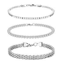 CASSIECA 3PCS Stainless Steel Chain Bracelets Set for Women Men Cuban Cube Bead Chain Bracelet Beaded Link Chain Bracelet Cable Bracelets Jewelry Gifts, Gold Silver Tone