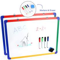 IbexStationers Wall Mounted Kids Magnetic Whiteboard - Double Sided - Includes Bonus 4 Color Dry Erase Markers, Eraser - 18 x 24 Inches - Erasable Non Ghosting Surface Coating Set of 2
