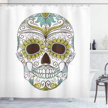 """Ambesonne Sugar Skull Shower Curtain, Folkloric Calavera Elements Floral Day of The Dead Theme, Cloth Fabric Bathroom Decor Set with Hooks, 70"""" Long, Green Brown"""