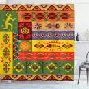 "Ambesonne African Shower Curtain, Abstract West Folk Art Forms with Unique Lines Print, Cloth Fabric Bathroom Decor Set with Hooks, 84"" Long Extra, Multicolor"