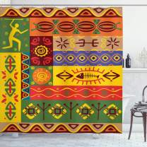 """Ambesonne African Shower Curtain, Abstract West Folk Art Forms with Unique Lines Print, Cloth Fabric Bathroom Decor Set with Hooks, 84"""" Long Extra, Multicolor"""