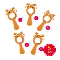 Baker Ross Mini Reindeer Bat & Ball Games Value Pack — Christmas Novelty Toys for Kids, Perfect Party, Loot , Prize Bag or Stocking Filler (Pack of 5)
