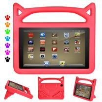 Amazon Fire 7 2019 Case for Kids - Auorld Light Weight Shock Proof Handle Protective Cover for Fire 7 inch Display Tablet (Compatible with 2015&2017&2019 Release) (Red)