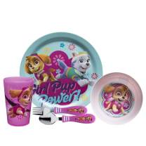 Zak Designs Paw Patrol Kids Dinnerware Set Includes Plate, Bowl, Tumbler and Utensil Tableware, Made of Durable Material and Perfect for Kids (Skye & Everest, 5 Piece Set, BPA-Free)