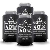 Coolies Can Coolers Collapsible Beer Soft Drinks Bottle Soda Sleeves Durable Insulators Premium Quality for Birthday Parties 40 WARNING Black Set of 24