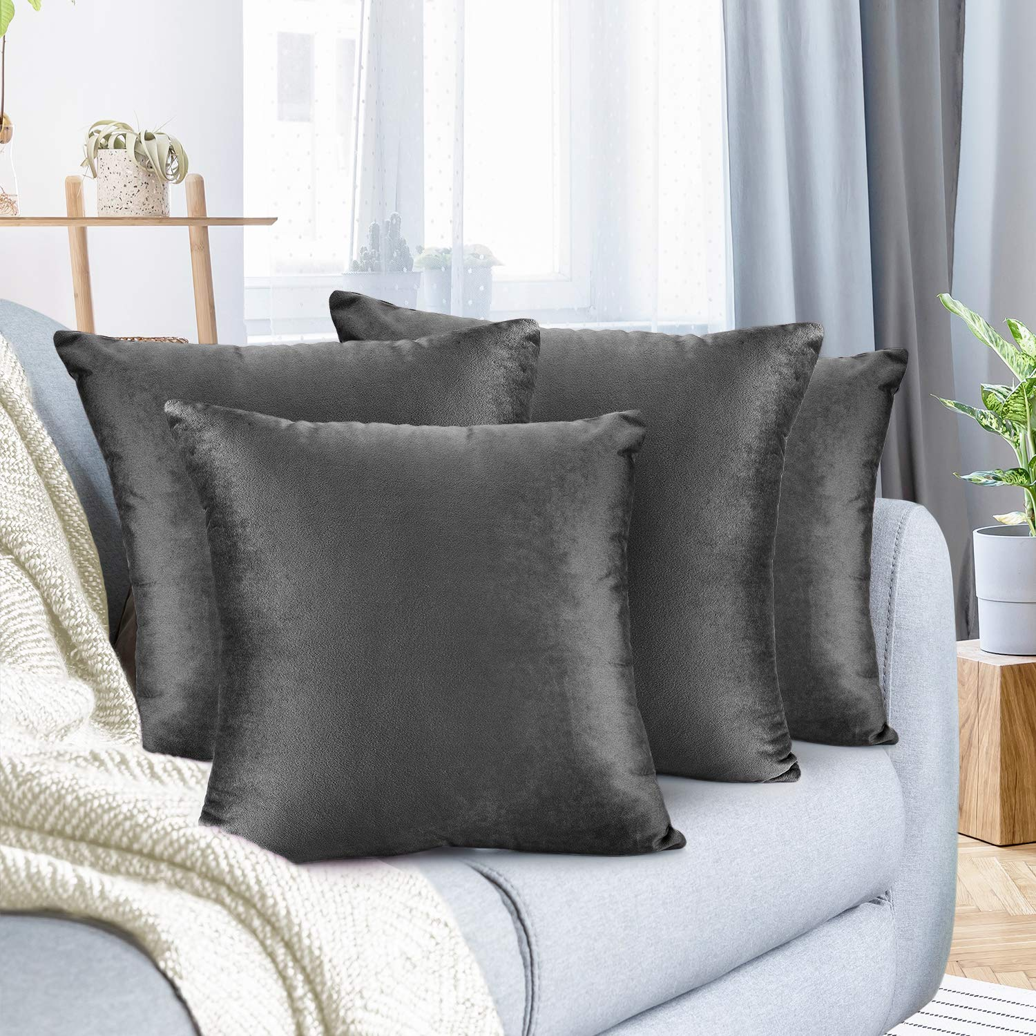 """Nestl Bedding Throw Pillow Cover 26"""" x 26"""" Soft Square Decorative Throw Pillow Covers Cozy Velvet Cushion Case for Sofa Couch Bedroom, Set of 4, Charcoal Stone Gray"""