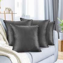 "Nestl Bedding Throw Pillow Cover 24"" x 24"" Soft Square Decorative Throw Pillow Covers Cozy Velvet Cushion Case for Sofa Couch Bedroom, Set of 4, Charcoal Stone Gray"