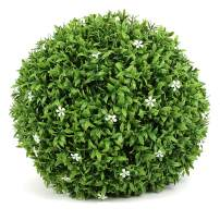 ART TO REAL 20'' Artificial Boxwood Topiary Ball, Indoor Outdoor Artificial Plant Ball Wedding Party Decoration (20 inch, Ball with White Flower)