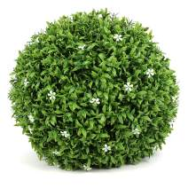 ART TO REAL 15'' Artificial Boxwood Topiary Ball, Indoor Outdoor Artificial Plant Ball Wedding Party Decoration (15 inch, Ball with White Flower)