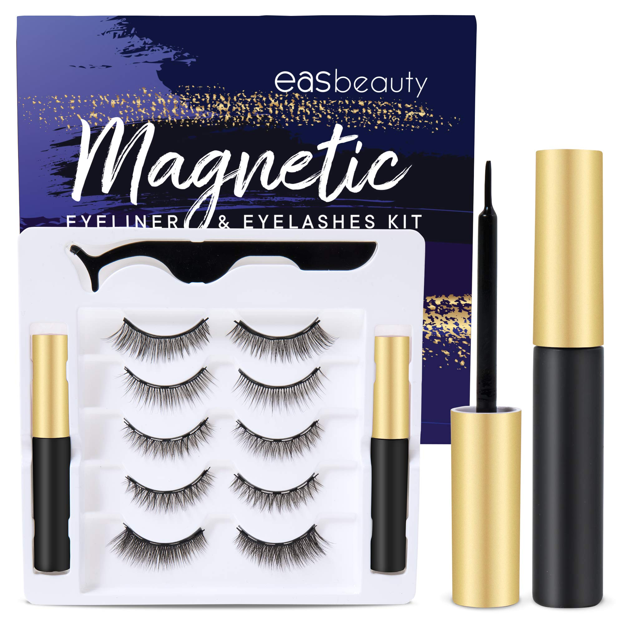 5 Pairs Reusable Magnetic Lashes and Double Eyeliner Kit, Best Magnetic Eyeliner for Magnetic lashes Kit, Comes With 2 Tubes of Magnetic Eyeliner-Easy to Use