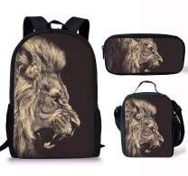 Micandle Lion Animal School Backpack Lunch Bag Pencil case Set with Padded Straps 3D Cartoon Student Stylish Unisex Daypack for Boys Girls School Book Bags