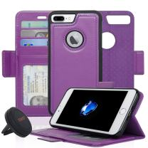 Navor Detachable Magnetic Wallet Case and Universal Car Mount Compatible for iPhone 7 Plus [RFID Protection] [Vajio Series]-Purple