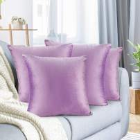 """Nestl Bedding Throw Pillow Cover 20"""" x 20"""" Soft Square Decorative Throw Pillow Covers Cozy Velvet Cushion Case for Sofa Couch Bedroom, Set of 4, Lavender"""