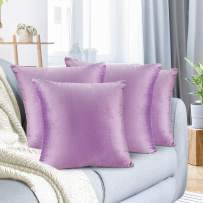 """Nestl Bedding Throw Pillow Cover 18"""" x 18"""" Soft Square Decorative Throw Pillow Covers Cozy Velvet Cushion Case for Sofa Couch Bedroom, Set of 4, Lavender"""