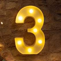 Brightown Decorative LED Marquee Light Up Number Letters Sign Night Light Party Wedding Birthday Party Christmas Lamp Home Bar Decor Battery Operated (3)
