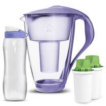 Dafi Alkaline UP Crystal Glass Filtering Water Pitcher 8 Cup Violet LED + 2 Alkaline UP Water Filters + FREE 24 oz Sport Bidon BPA-Free