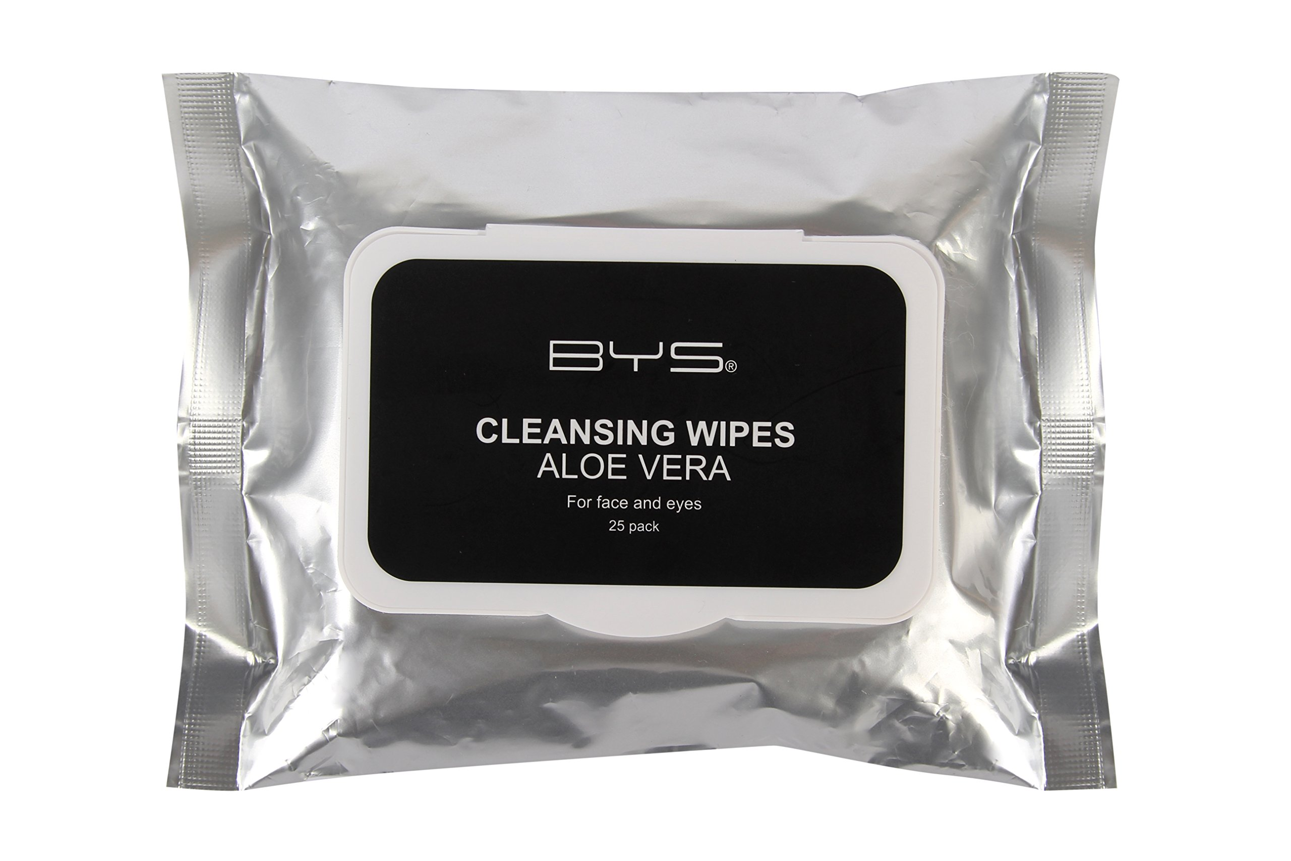 BYS Makeup Remover Cleansing Wipes with Aloe Vera and Vitamin E for Face and Eyes - 25 Pack