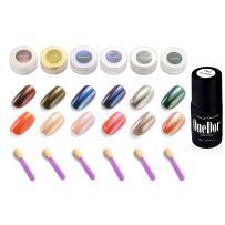 OneDor Chrome Pigment Glitter Shinning Mirror Nail Powder (6 Colors w/No Wipe Top Coat)