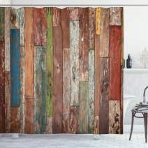 """Ambesonne Rustic Shower Curtain, Grunge Style Planks Print Weathered Old Look Vintage Illustration Architecture Theme, Cloth Fabric Bathroom Decor Set with Hooks, 70"""" Long, Brown Pastel"""
