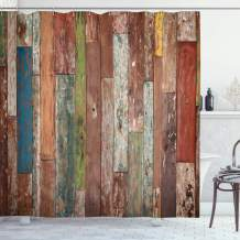 """Ambesonne Rustic Shower Curtain, Grunge Style Planks Print Weathered Old Look Vintage Illustration Architecture Theme, Cloth Fabric Bathroom Decor Set with Hooks, 75"""" Long, Brown Pastel"""