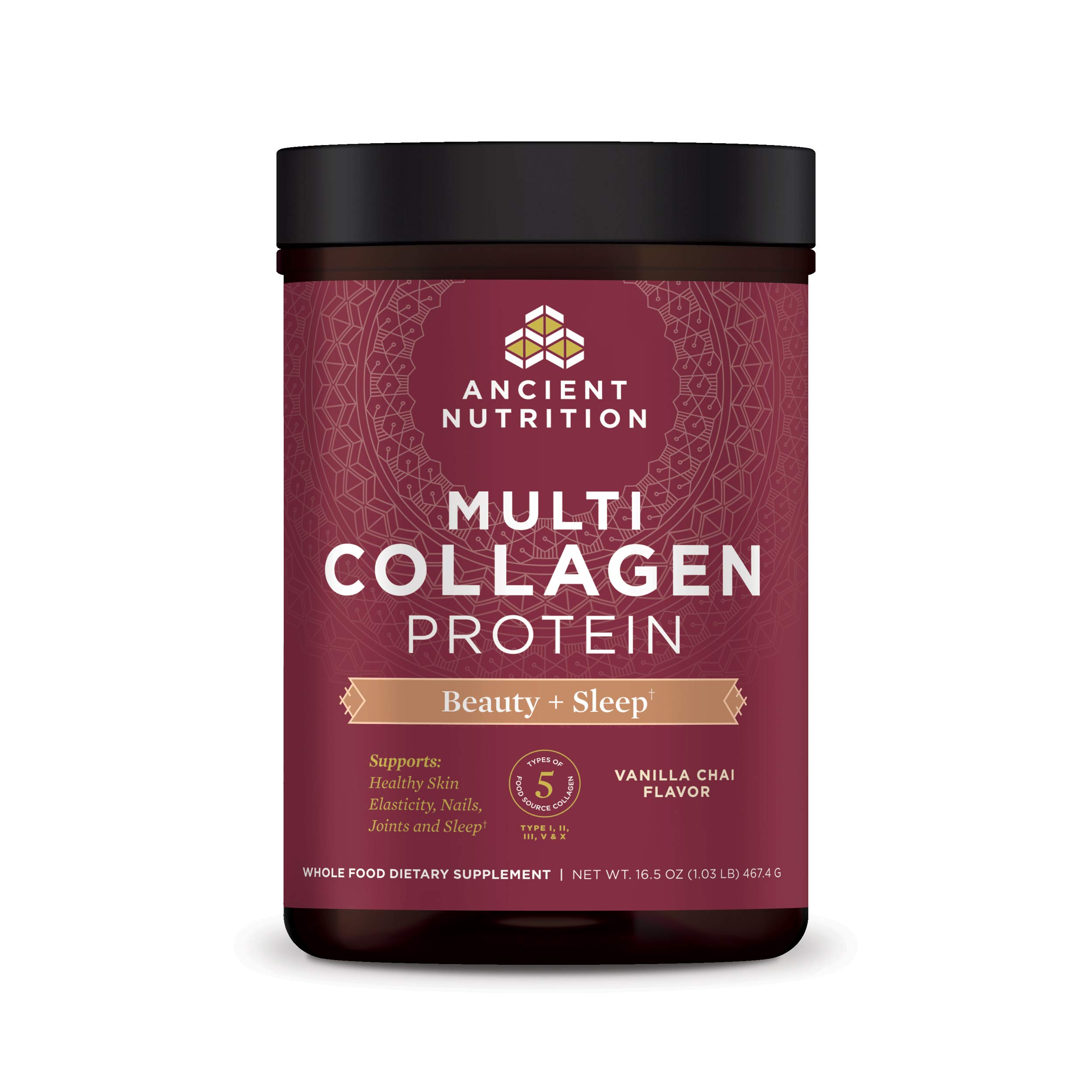 Ancient Nutrition Multi Collagen Protein Powder Beauty + Sleep, Vanilla Chai, Formulated by Dr. Josh Axe, Collagen Supplement Promotes Restful Sleep & Supports Hair, Skin, Nails, Joints & Gut, 16.5oz