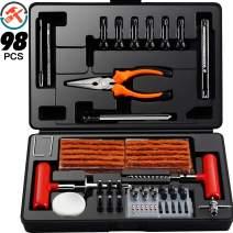 Ayleid 98 pcs Tire Repair Kit,Universal Tire Plug Kit,Heavy Duty Fix Punctures and Plug Flat Tools,for Car/Truck/RV/ATV/Motorcycle/Trailer (98pcs Plug Flat Tools)