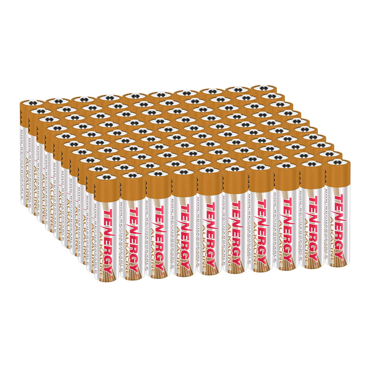 Tenergy 1.5V AAA Alkaline Battery, High Performance AAA Non-Rechargeable Batteries for Clocks, Remotes, Toys & Electronic Devices, Replacement AAA Cell Batteries, 100 Pack