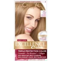 L'Oreal Paris Excellence Créme Permanent Hair Color, 7G Dark Golden Blonde, 1 kit 100% Gray Coverage Hair Dye