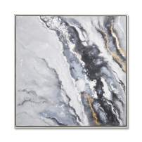 MOTINI Abstract Oil Painting Canvas Wall Art Black and Grey Wave Hand Painted Textured Painting Artwork for Living Room Bedroom Office 50'' × 50''