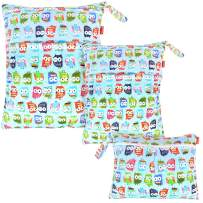 Damero 3pcs Pack Wet Dry Bag for Cloth Diapers Daycare Organizer Bag, Cute Owls