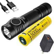 NITECORE E4K 4400 Lumens EDC Flashlight with 5000mAh USB-C Rechargeable Battery and LumenTac Quick Charge 3.0 Adapter