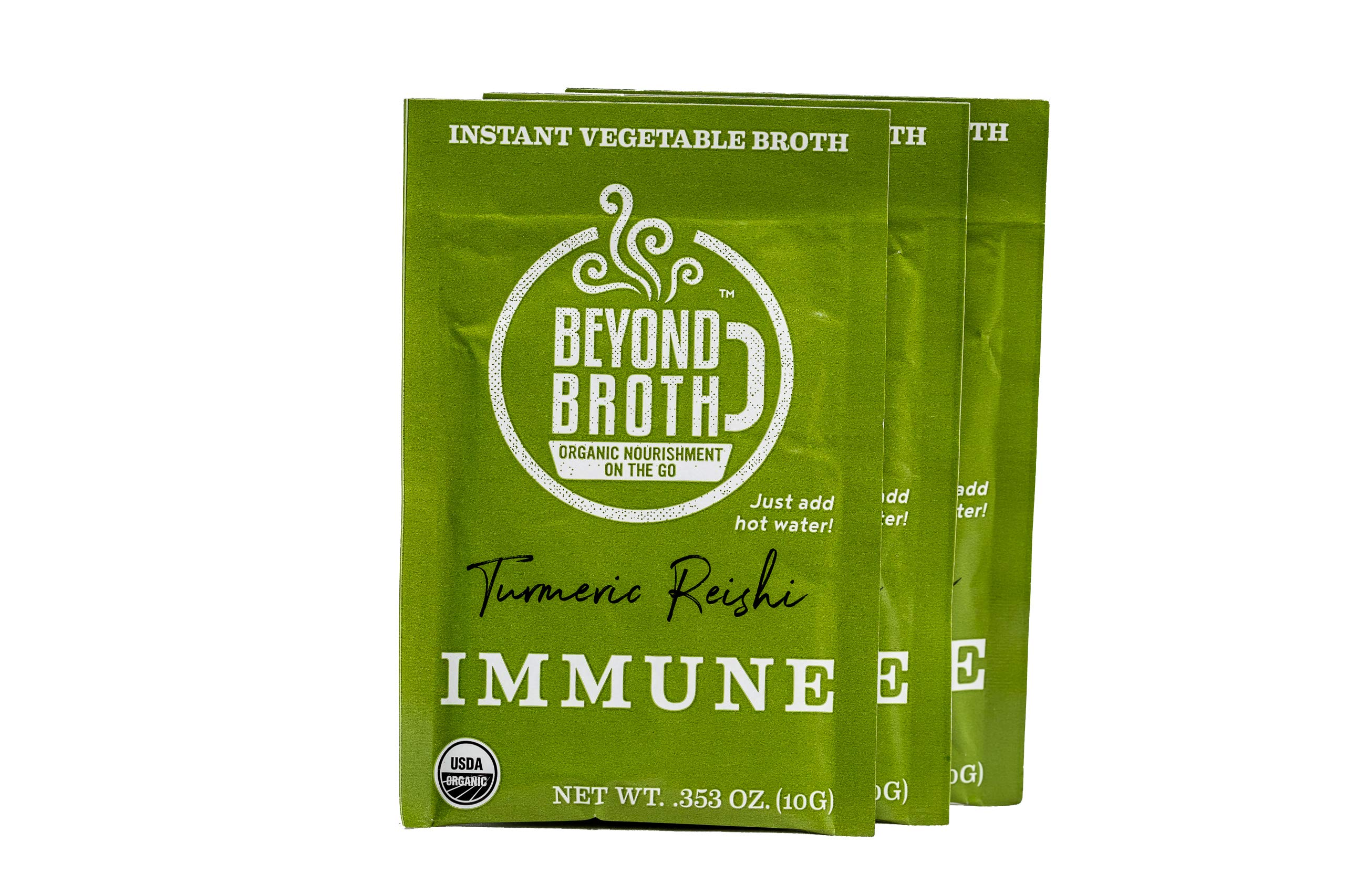 Beyond Broth Turmeric Reishi Immune Organic Vegan Vegetable Instant Sipping Broth; For On The Go Or Cooking, Keto, Paleo and Whole30 Friendly 3 single serve packets, Made in the USA