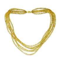 """La Regis Jewelry 14k Yellow Gold 6-Rows 3-4mm Simulated Citrine Necklace, 16"""""""