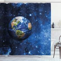"Ambesonne Space Shower Curtain, Outer View of Planet Earth in Solar System with Stars Life on Globe Themed Image, Cloth Fabric Bathroom Decor Set with Hooks, 84"" Long Extra, Blue Green"