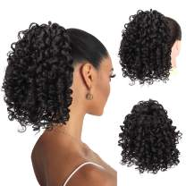 PEACOCO Short Afro Curly Ponytail Hair Piece for African American Women Ponytail Extension 10 Inch Curls Drawstring Pony Tail for Black Women (2#)