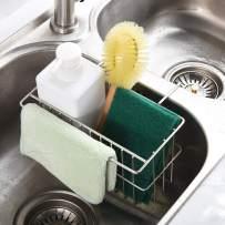Kitchen Sponge Holder, Dish Brush Holder, Slim Sink Organization/Draining Basket/Liquid Drainer/Water Trough Rack, Kitchen Essential Tools, 304-Stainless Steel