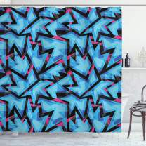 """Ambesonne Abstract Shower Curtain, Trippy Neon in Contrast with Grunge Digital Effects Illustration, Cloth Fabric Bathroom Decor Set with Hooks, 75"""" Long, Blue"""