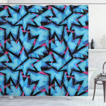 """Ambesonne Abstract Shower Curtain, Trippy Neon in Contrast with Grunge Digital Effects Illustration, Cloth Fabric Bathroom Decor Set with Hooks, 70"""" Long, Blue"""
