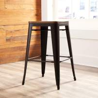"""OFM 161 Collection Industrial Modern 4 Pack Fully Assembled 30"""" Backless Bar Height Metal Stools, Solid Ash Wood Oversized Seats, Galvanized Steel Stools, in Black/Walnut"""