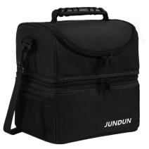 JUNDUN Lunch Bag Double Insulated Cooler Tote Lunch Box with Shoulder Strap for Men &Women (Black)