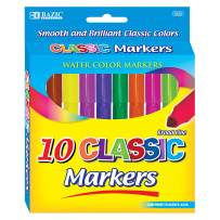 BAZIC 10 Colors Broad Line Jumbo Watercolor Markers Pens, Assorted Classic Colors Marcador Gift for Kids School Art (Box of 24)