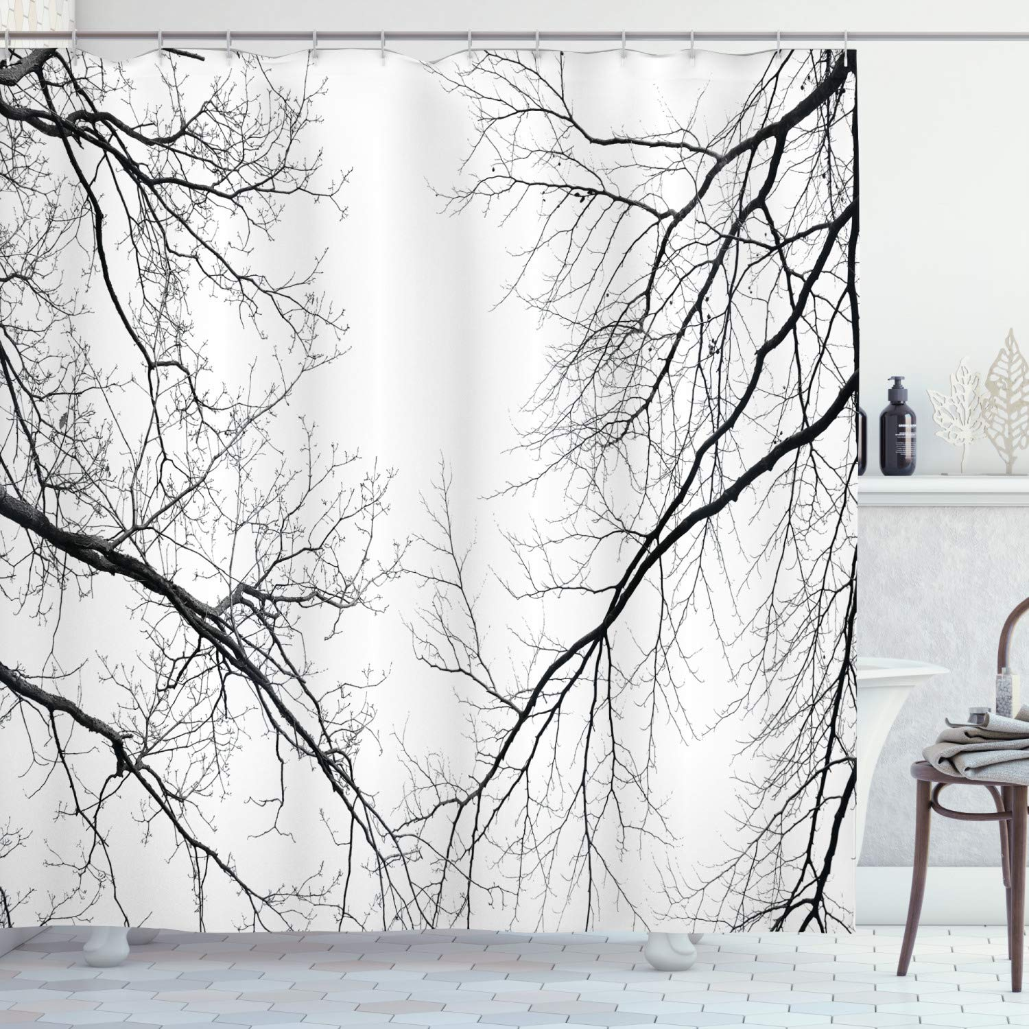 """Ambesonne Forest Shower Curtain, Trees Branches Leafless Spooky Scary Image in a Gloomy Air Sky Scene Image, Cloth Fabric Bathroom Decor Set with Hooks, 75"""" Long, Black White"""